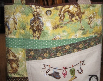 """Cowboy Tote Bag-Quilted/Embroidered/19""""W X 17""""L"""