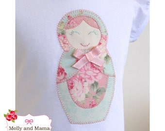 Babushka PDF Applique Template - Matryoshka, Russian Doll