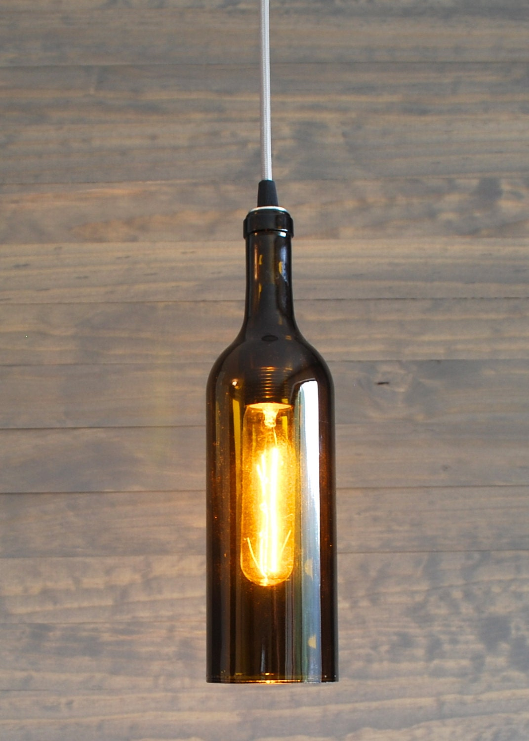 Upcycled Wine Bottle Pendant Light by IndustrialBlush on Etsy
