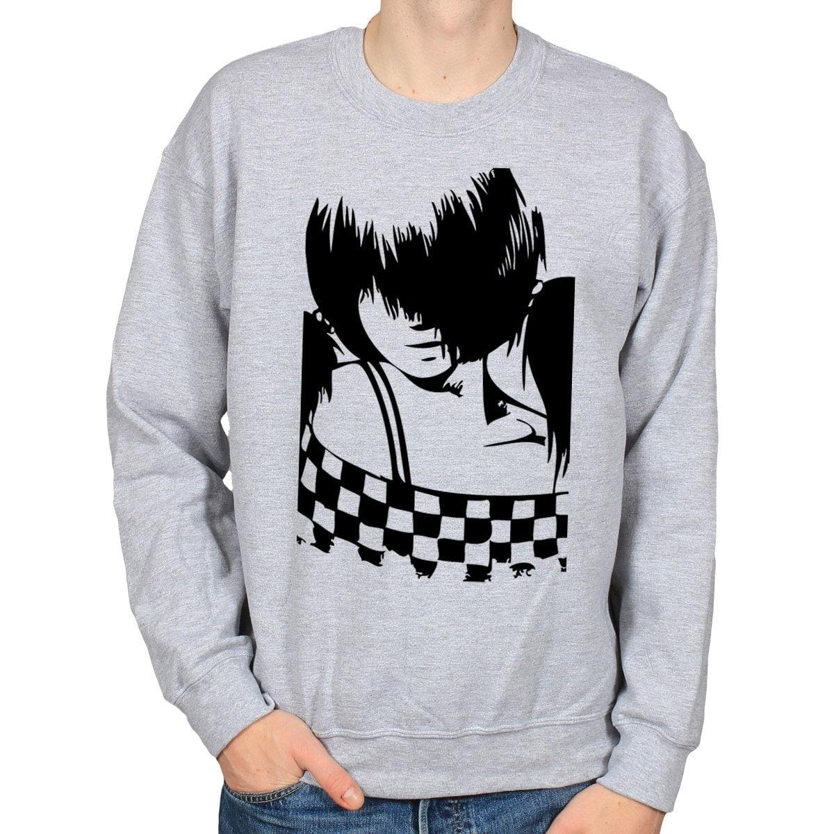 Emo Anime Girl Sweater Two Tone Crewneck By WhiteoutFashion