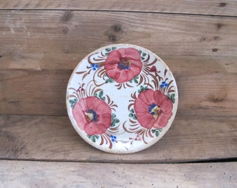 Antique French terracotta  floral glazed Plate