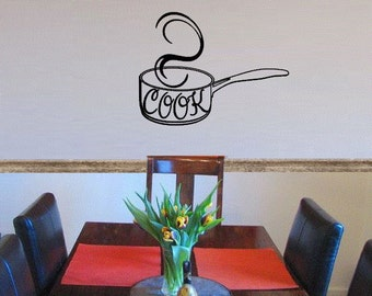 Cook Wall Decal - Cook Kitchen Wall Art -Cook Kitchen Sign - Pots and Pans Wall Art - Kitchen Art - Cook Decor - Large Size