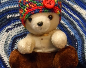 """Newborn """"Crayola"""" Hat with Bright Red Button"""