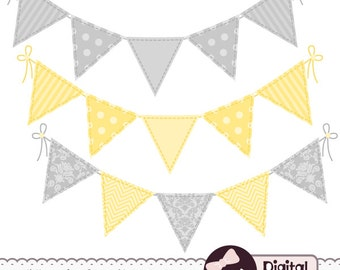 Yellow and Gray Bunting Flag Clip Art, Digital Banner Clipart Graphics, Baby Shower