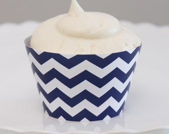 INSTANT DOWNLOAD – Printable Navy Chevron Cupcake Wrapper – Printable Cupcake Wrappers