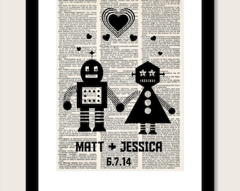 Personalized Robot Couple  with Name and Date Wedding, Shower, Anniversary, Couples Gift, Valentines Day Gift dictionary print typography