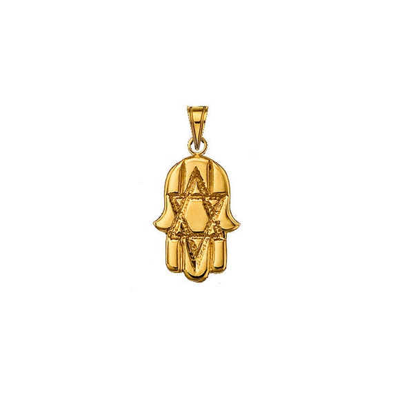 Hamsa Pendant with Star of David in 14k Yellow Gold
