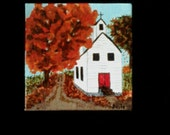 Painting White Church in Autumn. Free easel and shipping with purchase.