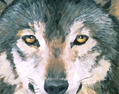 """Spirit Animal, Wolf, 8"""" x 10"""", oil painting,  Limited Edition Giclee Print"""