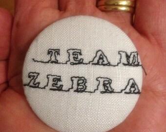Team Zebra Text Brooch