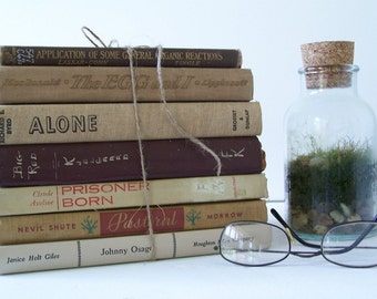 FREE SHIPPING Vintage Book Collection Earthy Brown Tones