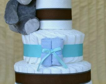 Baby Boy Diaper Cake - Teal & Brown