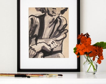"""Art Print, Home Decor, Gallery Wall, Affordable Art, Ink Wash Painting, Figure Drawing, Calligraphic, Boho, Giclee, 8""""X10"""" - """"Seated Model"""""""