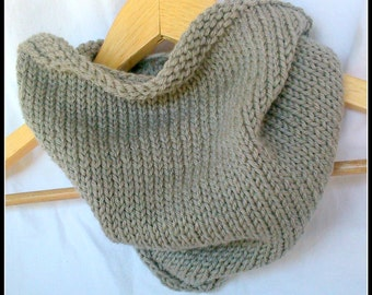 Knitted Neck Kerchief Cowl in Taupe