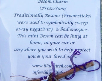 Hand Made Mini Besom (Broomstick) Charm Brooch - Choose Your Own Colours!