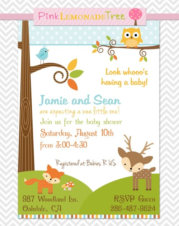 woodland baby shower invitation gender neutral by pinklemonadetree