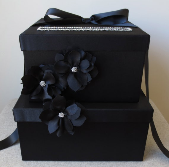 Black And White Wedding Gift Card Box : ... Black Wedding Card Box Money Gift Card Holder Handmade (box 6) on Etsy