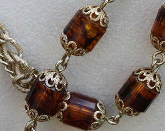 Beautiful Vintage Opera Length Root Beer Colored Necklace