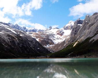 Emerald Lake in Argentina print in color or black and white.