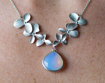 Opal Orchid Flower Necklace, Violet Opal Crystal, Wedding Jewelry, Bridesmaid Jewelry, Graduation Gift