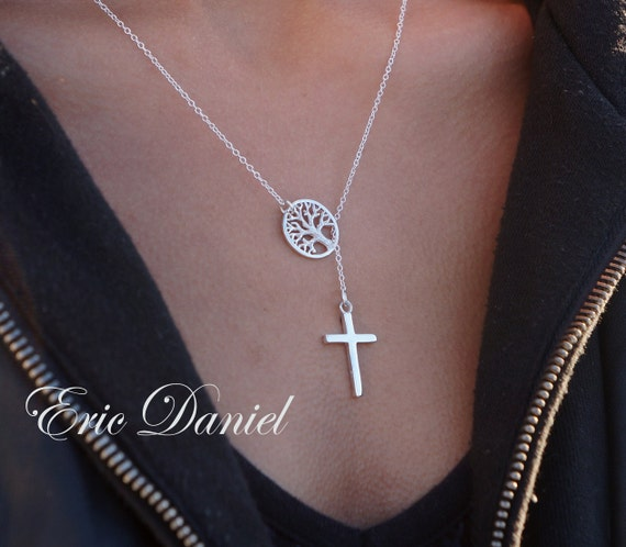 tree of life cross lariat necklace available in sterling. Black Bedroom Furniture Sets. Home Design Ideas