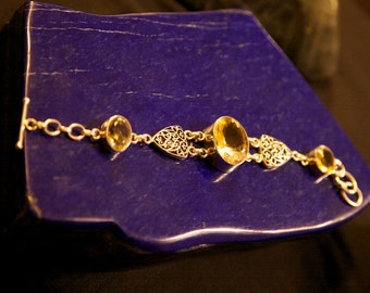 Citrine and Sterling Silver Bracelet