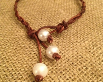 Braided Leather Anklet with Pearls
