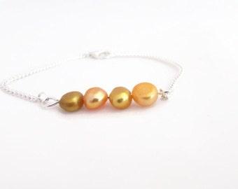 CLEARANCE Yellow freshwater pearl bar bracelet, handmade in the UK