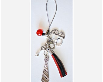 Red & Black, Mobile Phone Charm Accessory // Fifty Shades of Grey // Cell // BDSM Gift // Party Favours // Hen Party // Bachelorette Party