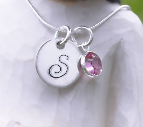 My Princess Necklace - Hand Stamped Sterling Silver Initial Necklace with Swarovski Birthstone Charm - Tweens & Teens
