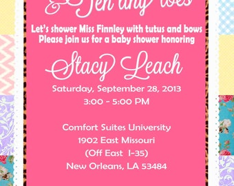 Whimsical Bohemian Leopard Print Baby Shower Invitation Print Your Own 5x7