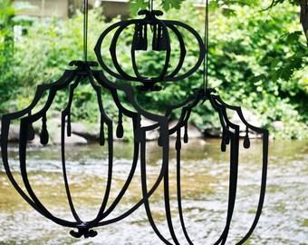 Set of 3 Hanging Lanterns - black or white