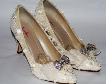 Luxury Vintage Handmade Custom Delicate Lace Wedding Shoes. Ivory Court Shoes, Low Heel.