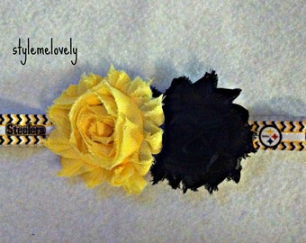 Pittsburg Steelers Baby Girl Shabby Flower Elastic Headband