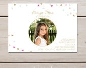 """Confetti and Gold Painted Birthday Photo Invitations, 5"""" X 7"""""""