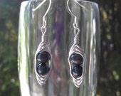 Two Pearls in a Pod, Wire Wrapped Earrings, Fresh Water Pearl Earrings, Dangle, Drop, Handmade, Beaded, Black Pearls, Dark Pearls.