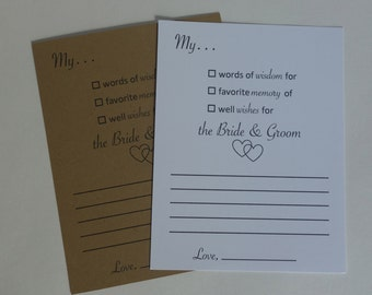Advice Cards for the Bride & Groom - Wish Cards - Wedding - Guest book - Wedding Guest Book