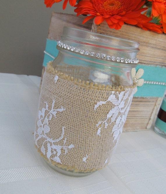 Wedding Decorations Using Mason Jars: Items Similar To Rustic Wedding Mason Jar, Table Decor