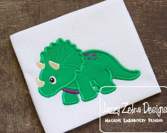 Triceratops Applique embroidery Design - Dinosaur applique design - dino appliqué design