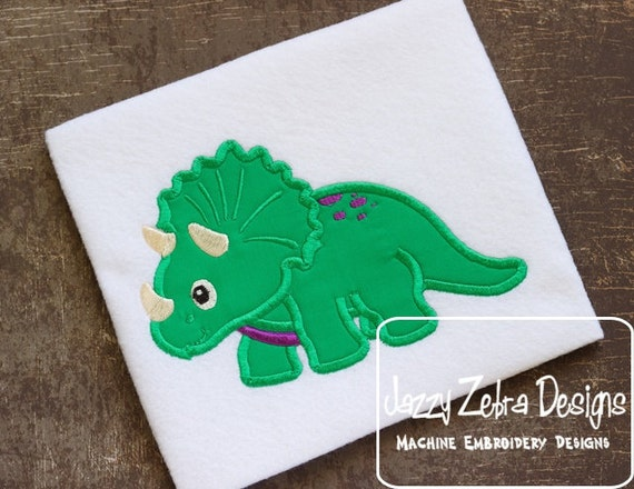 Triceratops Applique embroidery Design - Dinosaur applique design - dino appliqué design