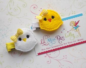 Felt Clippie- Spring Chick Clippie- Birdie Hair Clip- Easter Feltie Barrette- Yellow-White  (Set of 2)