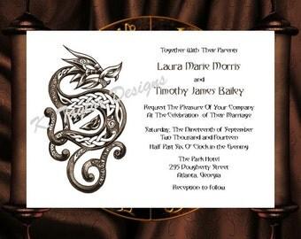 dragon invitation rsvp celtic dragon wedding invitation irish celtic medieval wedding invitation - Celtic Wedding Invitations