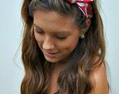 PIN UP Headband ROCKABILLY Wired Fabric Dolly Bow Chevron