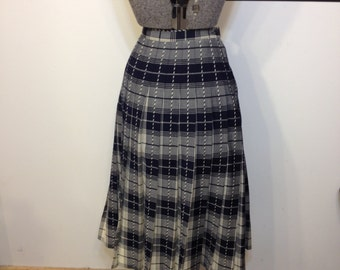 1960's Blue and Cream Plaid Pleated Skirt by Pendleton Woolen Mills, Vintage Pin up / Rockabilly / Hipster