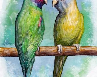 Finches. Original Painting, Watercolor, Handpainted, 7,6 x11,6 inch. NOT a print! Original painting! Tatiana-Art