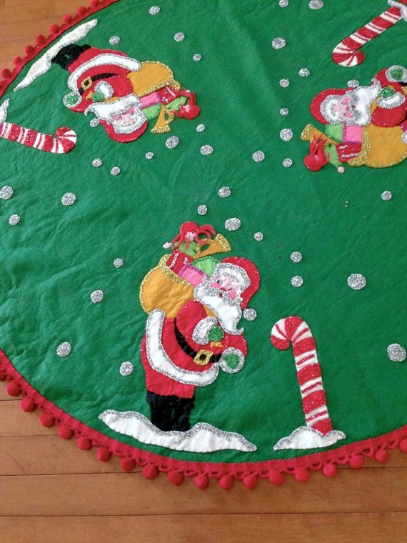 Vintage tree skirt christmas felt