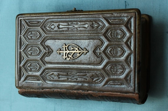 Antique Leather Bound Book With Clasp By Frenchvintagelife
