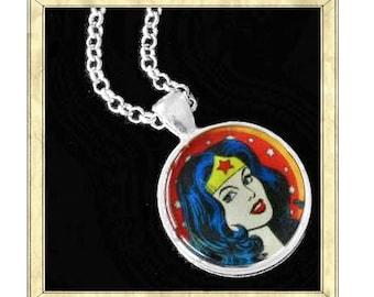 Wonder Woman - Handmade pendant bezel with glass tile, Antique Bronze or Silver
