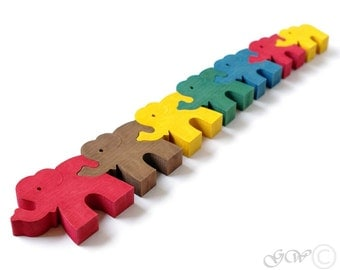 Wooden Puzzle Seven Elephants, Wooden toys. Wooden animal puzzle M201