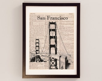 Golden Gate Bridge Print - San Francisco Art - Print on Vintage Dictionary Paper - Golden Gate Dictionary Print - San Francisco Print